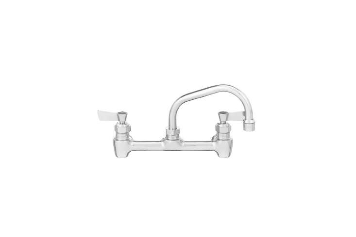 The Fisher Backsplash Mounted Swivel Faucet has eight-inch centers and an eight-inch swing spout; $