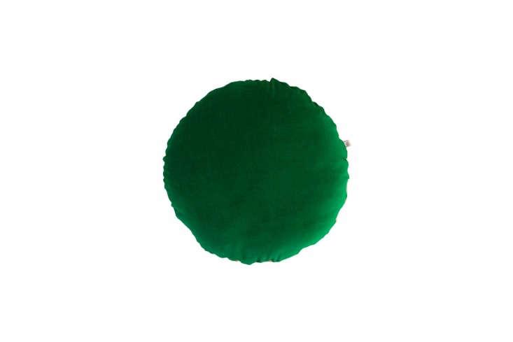 from etsy seller hello lovely au, theround velvet linen cushion in emerald (s 13
