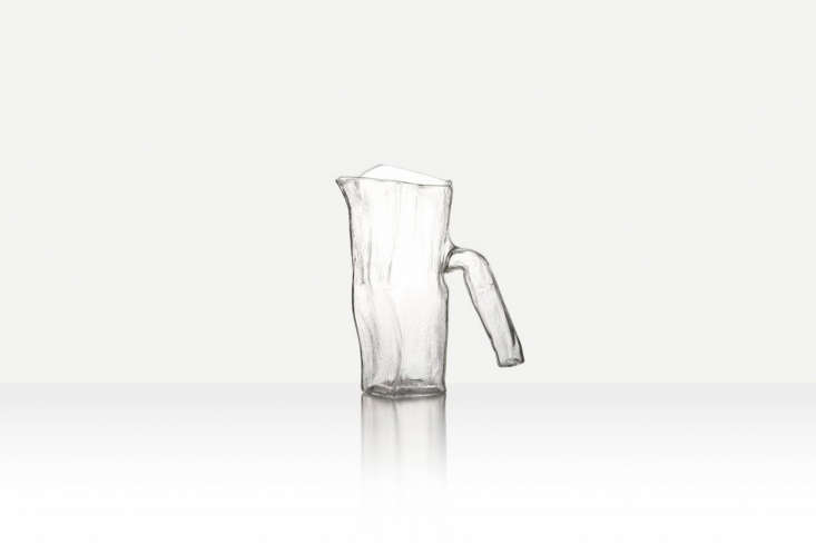 ThePressed Textural Jug from Jochen Holtz is free blown from borosilicate and has a textural pressed interior; it&#8