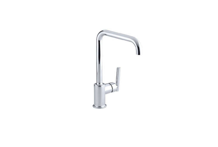 TheKohler Purist Single-Hole Kitchen Faucet is the simplest version of Kohler's top-rated Purist line. It has an eight-inch spout that rotates 360 degrees with a 9.7-inch clearance;$37loading=