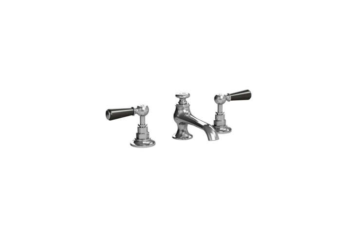 The Lefroy Brooks Classic 00 3-Hole Basin Connaught Mixer with black levers is $768.60 at Quality Bath.