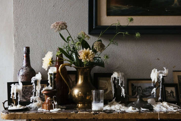 our latest obsession: a darkly gothic mantel, where wax drips are part of the a 9