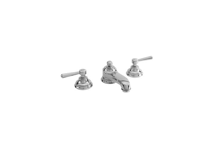 The Newport Brass 60 Widespread Lavatory Faucet is available in  finishes (shown in polished chrome); $8 at Newport Brass.