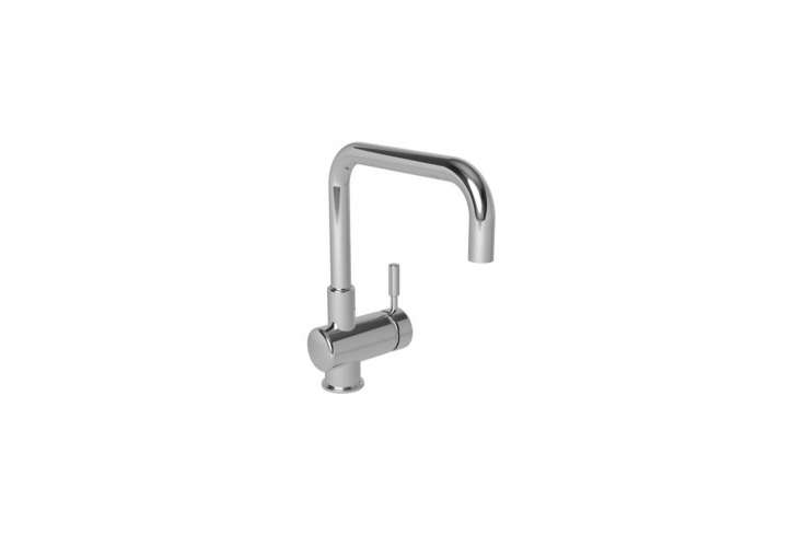 The Newport Brass East Square Single Hole Kitchen Faucet, shown in polished chrome, is $50loading=