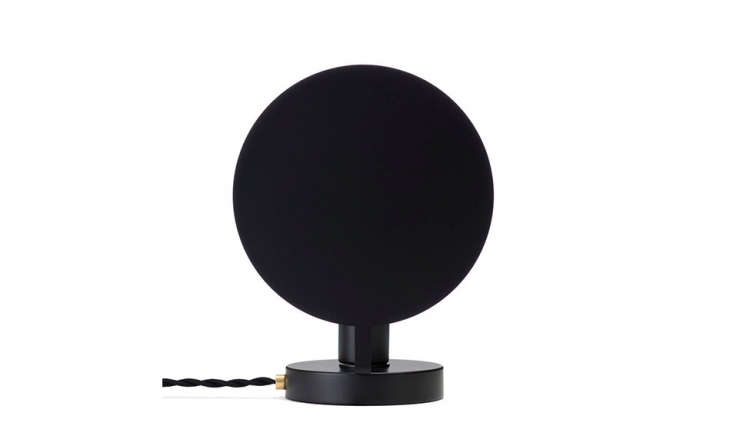 The moon lamp is ideal as desk or hallway lamp or on a night table. Shown here, the OFS Moon Lamp in powder-coated black; $9.95.