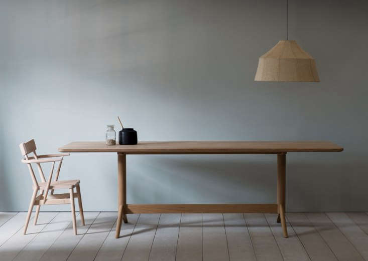 the pinch achilles dining table in white oiled oak features the flared table le 9
