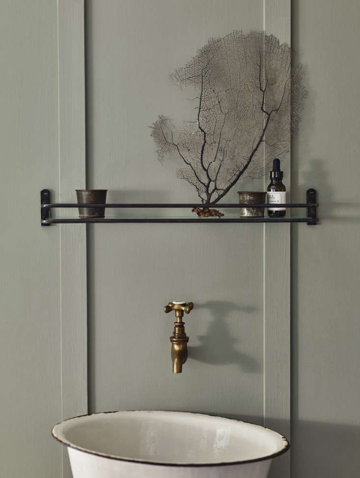Vintage Luxe New Bath Accessories from Rowen amp Wren with Traditional Appeal Another Bilton Bathroom Shelf, this one in blackened bronze. With a simple glass inset, it &#8\2\20;offers a platform to display the more beautiful of your unguents and lotions, rather than tucking them away in cupboards.&#8\2\2\1;