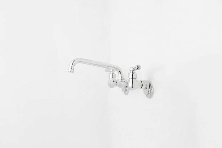 At Signature Hardware the Wall-Mount Faucet Swing Sprout with an eight-inch swing spout and lever handles is $loading=