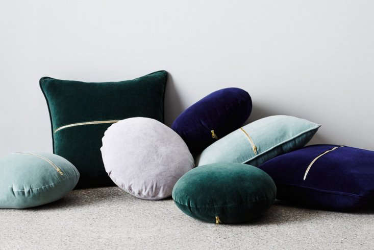 the sly elwyn velvet cushion round sage is available in, from left, sage, grey, 17