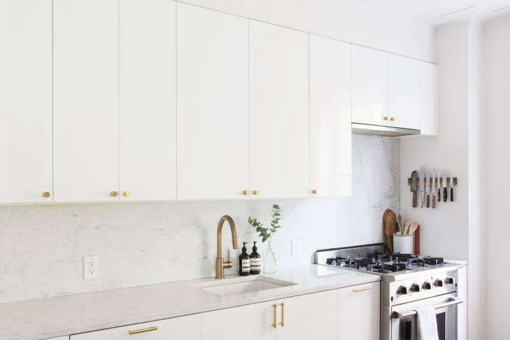 Steal This Look A SemiCustom Kitchen in Brooklyns Sunset Park The countertops and backsplash areBianco Gioia marble.Photography by and courtesy ofSpace Exploration.
