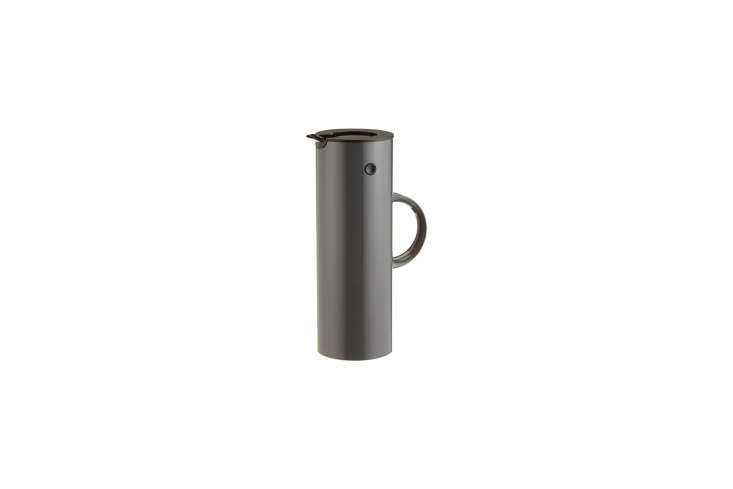 The Stelton thermos in matte chocolate is a discontinued color. The closest match is the Stelton EM77 Vacuum Jug in Granite, shown, for $73 on Amazon.