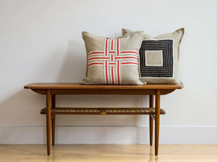 occasionally stephanie uses her linen tape to make geometric pillows:red, bla 22