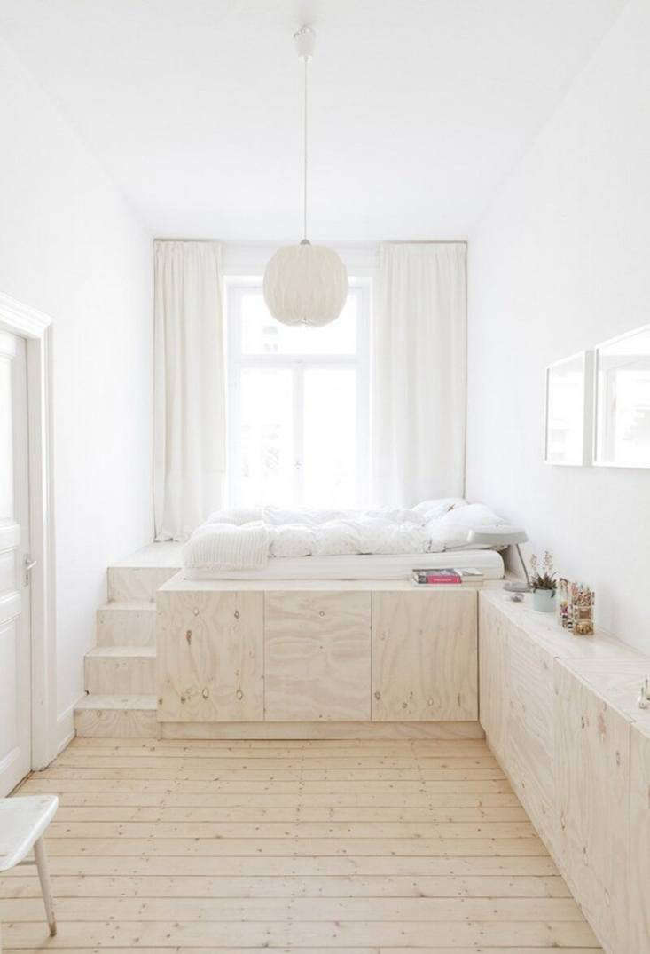 The White Album 27 Serene Bedrooms in Shades of Pale This Studio Oink designed plywood platform bed in Wiesbaden, Germany, incorporates seamless storage, so there&#8\2\17;s no need for additional furnishings. Intrigued? Go toHappiness at Home with a German Design Duo. Photograph courtesy ofStudio Oink.
