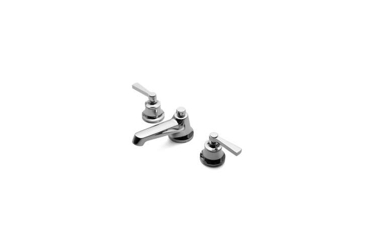 The Transit Low Profile Three-Hole Deck-Mount Lavatory Faucet with metal lever handles is $65