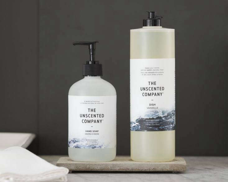 Hand and dish soap from the Unscented Company, which is a certified B Corp, a for-profit company that has sought a third-party certification verifying its commitment to environmental and social values, plus accountability and transparency.