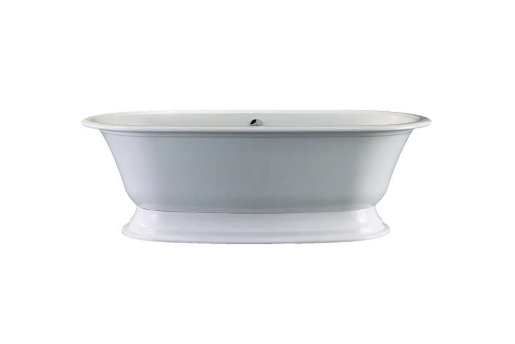 The freestanding bathtub is the Victoria & Albert Elwick Bathtub for $4,9 at Quality Bath. Alternatively, contact Victoria & Albert to find a local showroom.