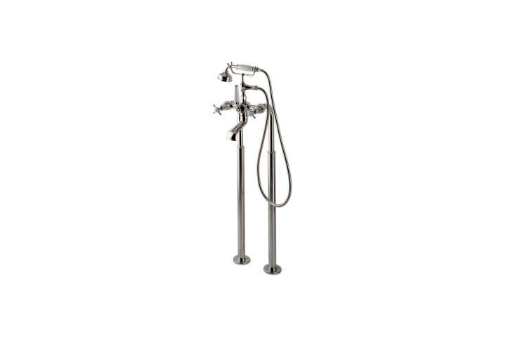 The Waterworks Easton Classic Exposed Tub Filler has a white porcelain handshower and lever diverter handle; $