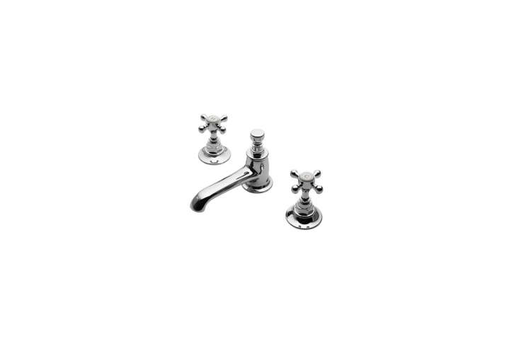The sink faucet is the Highgate Low Profile Three Hole Deck Mounted Lavatory Faucet with Metal Cross Handles; $65loading=