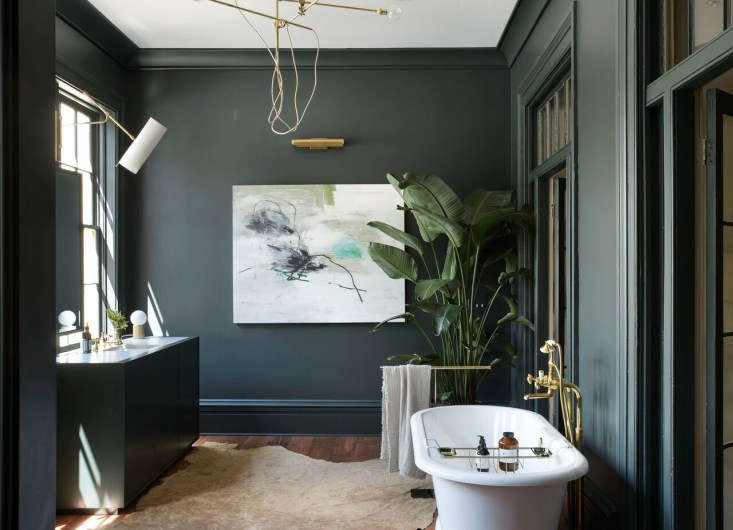 The gallery-like master bath is an expression of what Robert and Stefanie call &#8