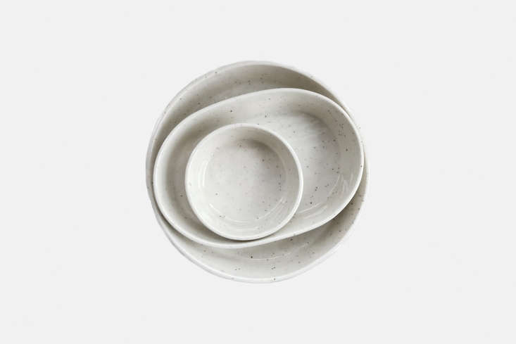10 Easy Pieces Ceramic Trays Ceramicist Andrew Molleur makes a set of trays, the largest of which is the Ceramic Round Speckled Tray measuring 7 \1/4 inches; \$38 at EA/ST Co.