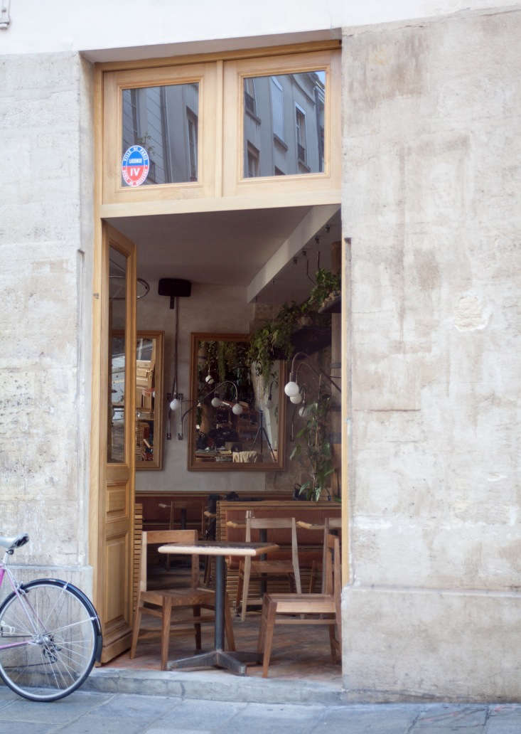 In typical Parisian style, doors open out to the street in good weather.