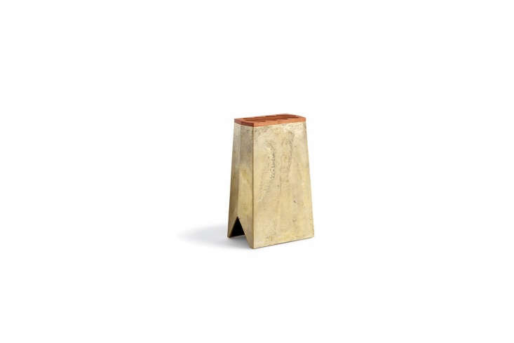 thefutagami brass knife stand has a removable wooden lid with five slots for  24