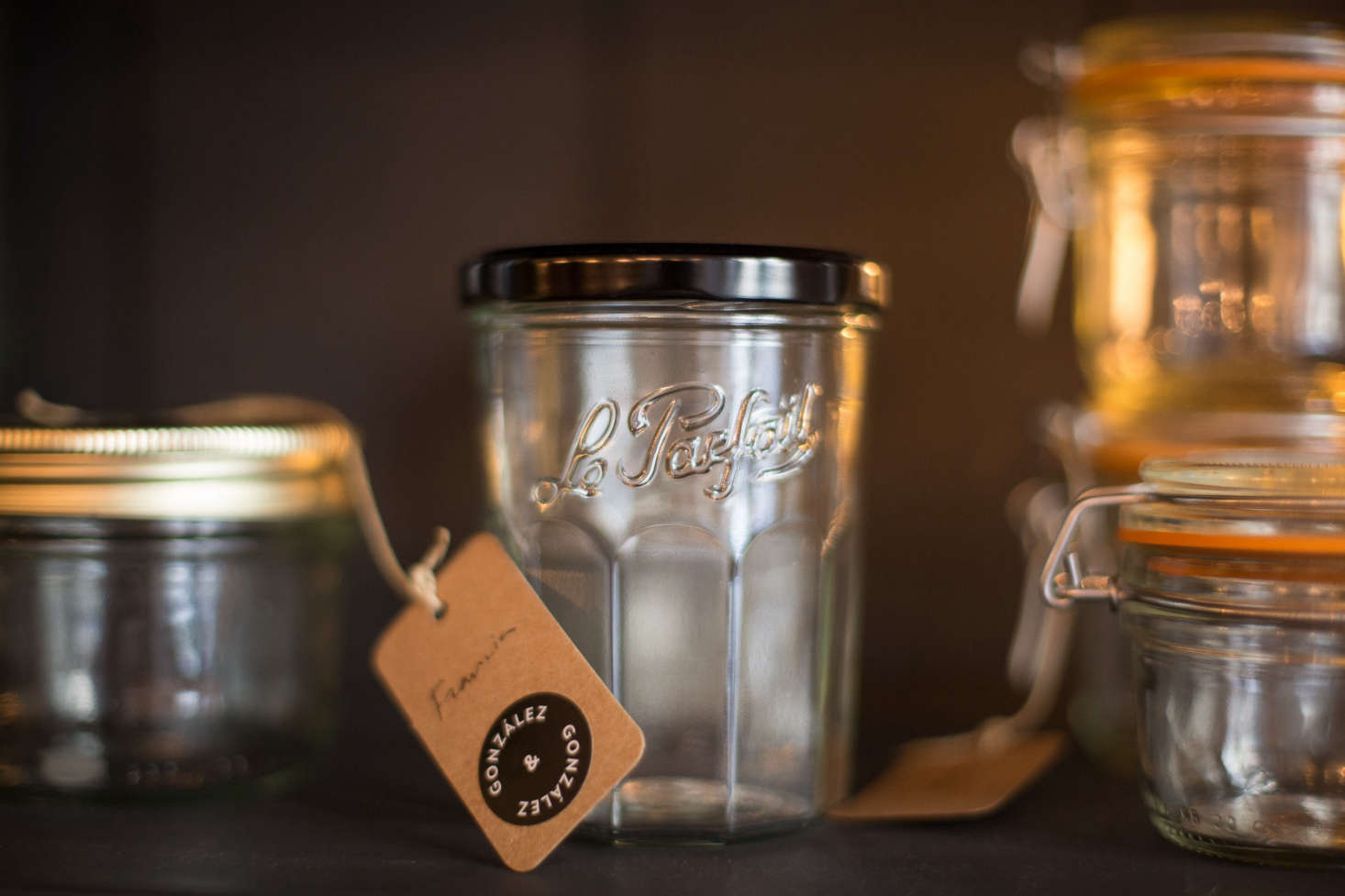 Among the pantry offerings: Le Parfait jam jars with hard-to-find black lids (€