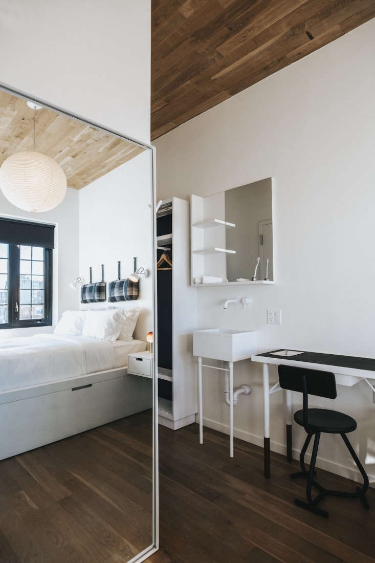 In some guest rooms, both floors and ceilings are made of oak wood.