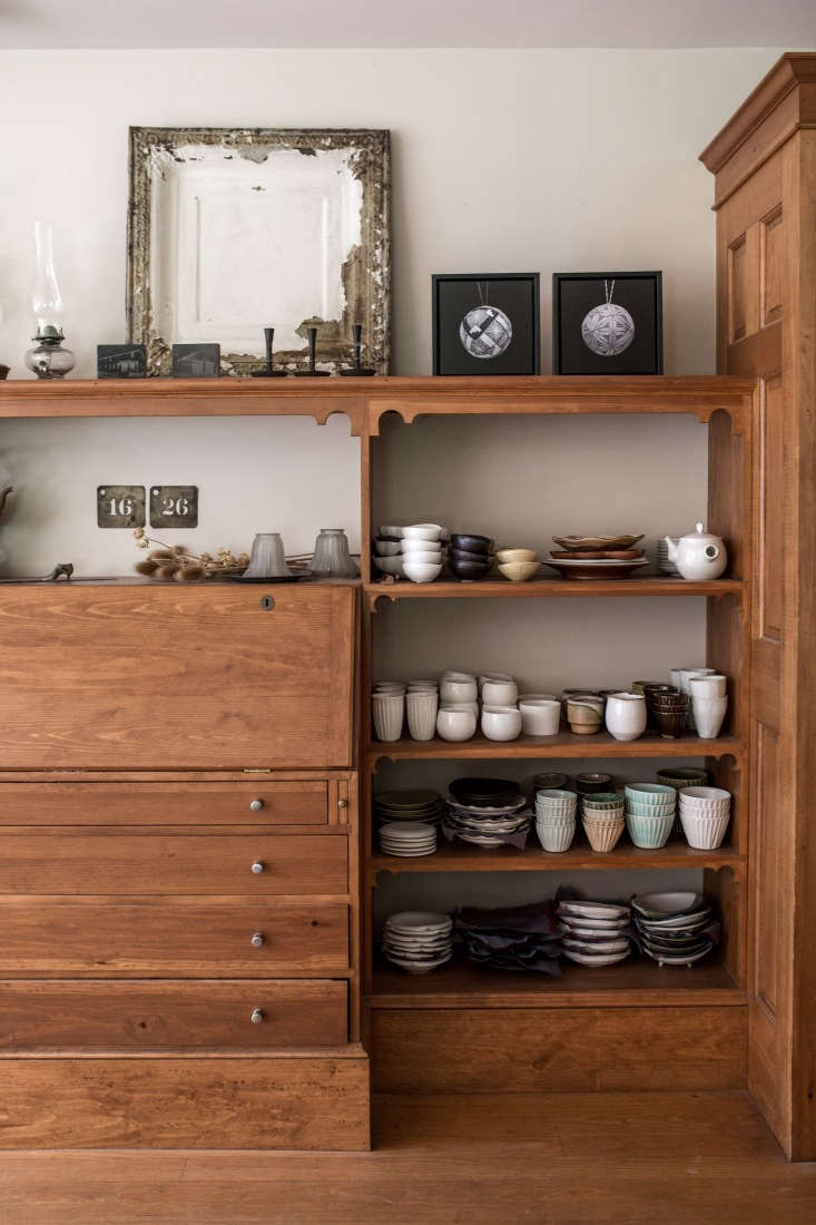 shelves hold nakazato&#8\2\17;s ceramics, which are inspired by maine and j 12