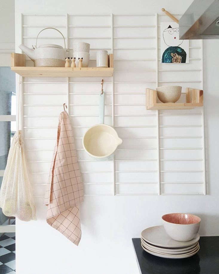 the stoveside storage is a fency kitchen rack, €\2\17.95, a steel frame that  16