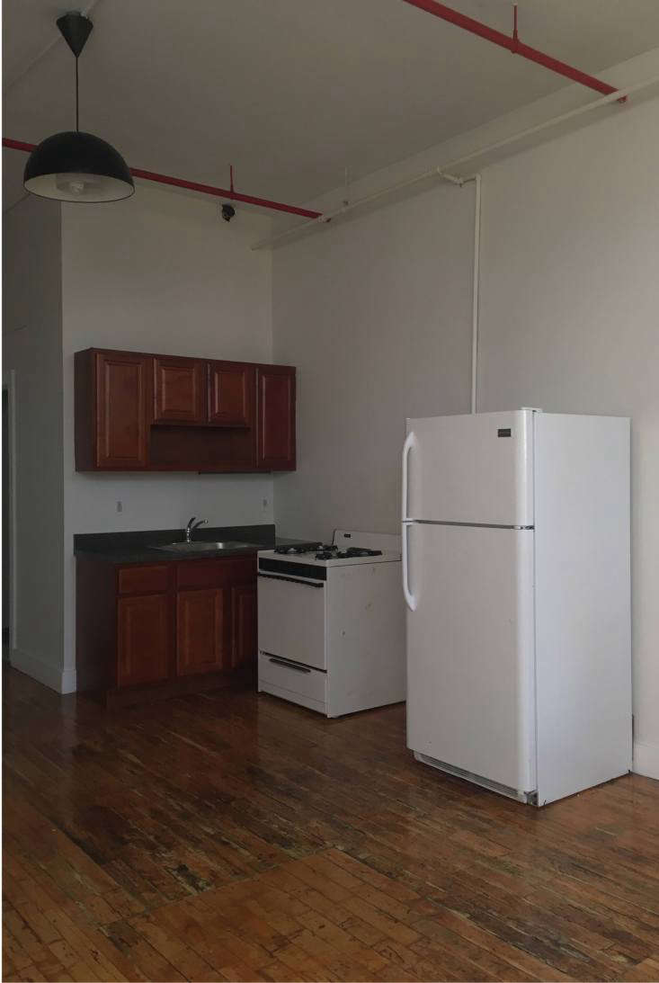 A TwoWeek 1000 500SquareFoot Rental Overhaul by a Design Student in Bushwick Brooklyn A typical New York loft turned apartment: the kitchen area, before.
