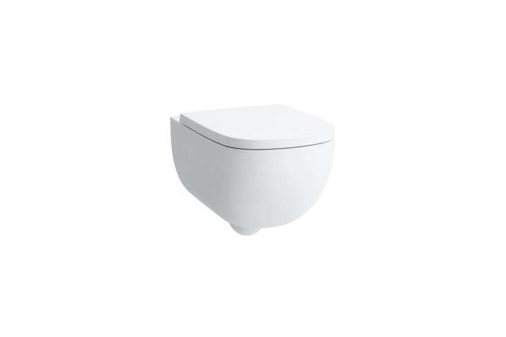 The toilet is the Laufen Palomba Wall Hung Toilet; $640 at AF Supply.