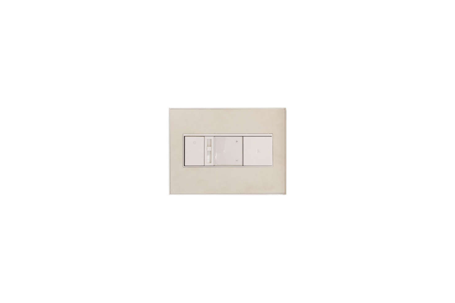 The switch-plate covers are from US-based company Legrand: the Adorne Custom Wall Plate, 3-Gang, White Trim can be painted to match the color of the wall.