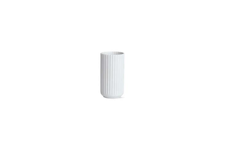the white lyngby porcelain vase serves as a makeup brush holder; \$80 for the s 21