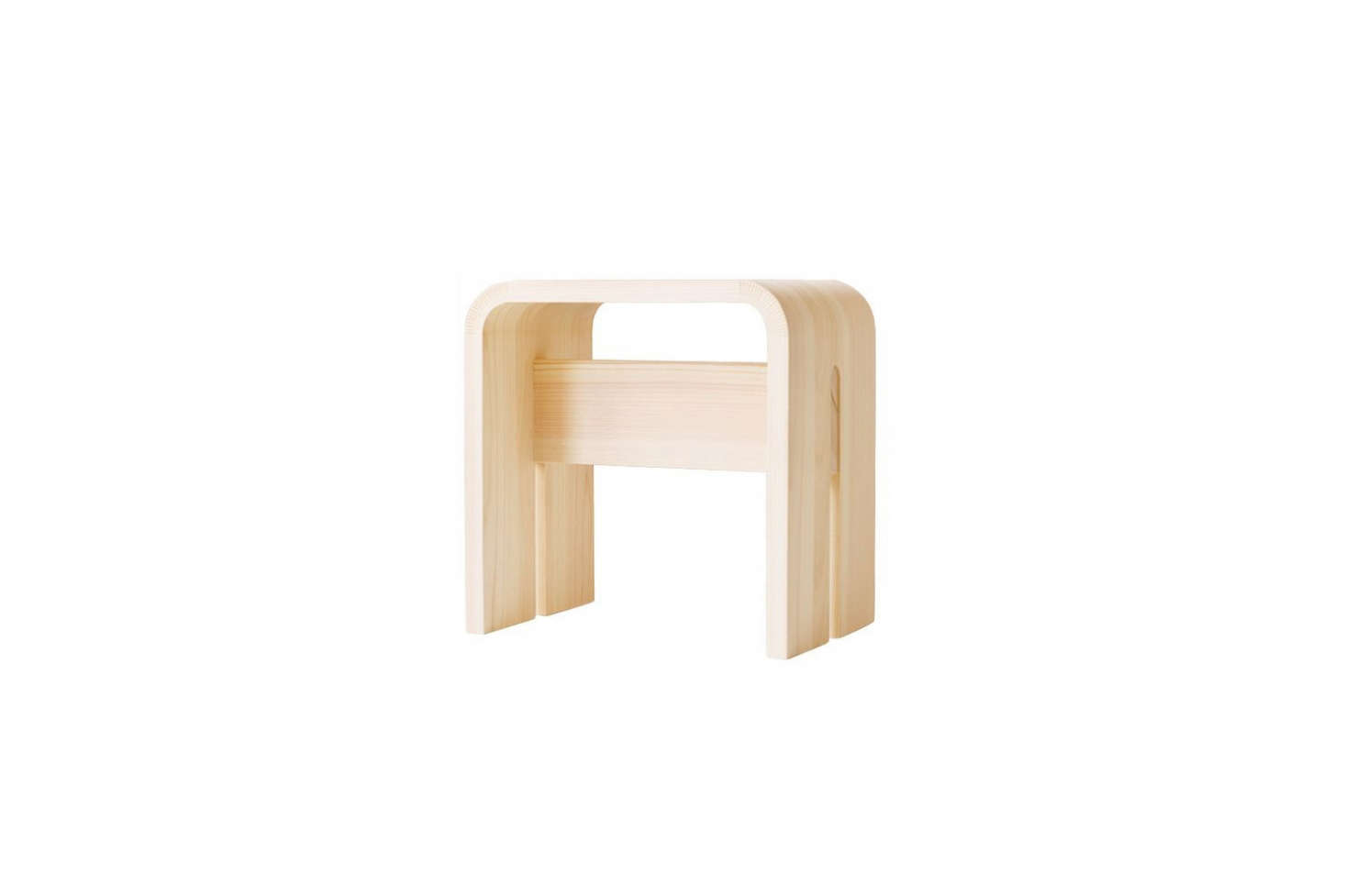 TheHinoki Bath Stool by designer Makoto Koizumi is handmade of bent Kiso Hinoki; $9.65 for the small size at Analogue Life. For more, see Easy Pieces: Best Sauna Stools for the Bath.