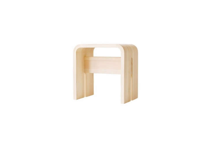 The Hinoki Bath Stool by designer Makoto Koizumi is handmade of bent Kiso Hinoki; $9.65 for the small size at Analogue Life. For more, see  Easy Pieces: Best Sauna Stools for the Bath.