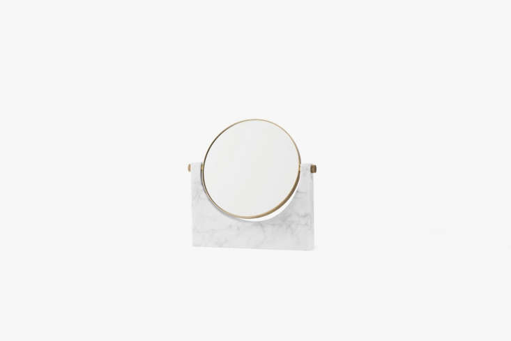 the rotatingpepe marble mirror from menu in white marble is \$5\10.\10 at hou 19