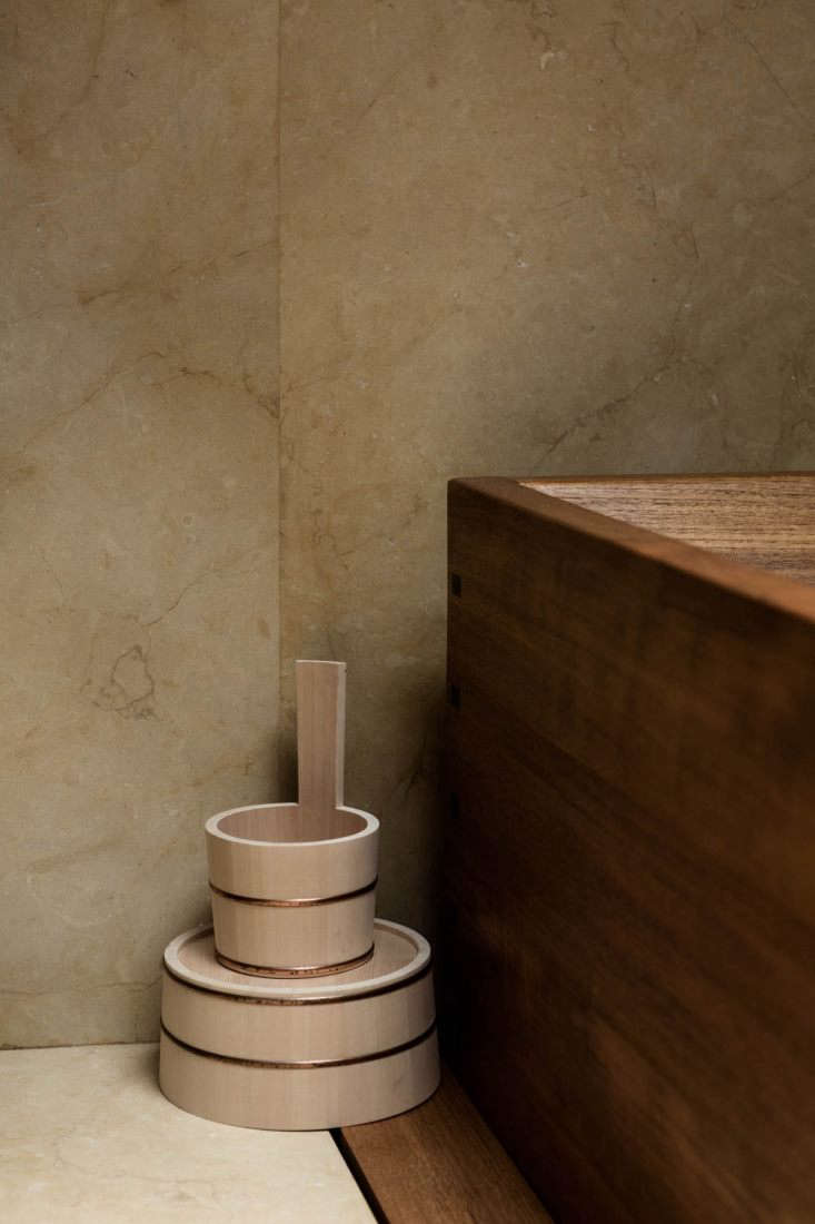 Traditional Japanese Hinoki Wood Bath Buckets with copper trim are available from Nalata Nalata. For a range of options, see High/Low: The Japanese Wooden Bath Bucket.