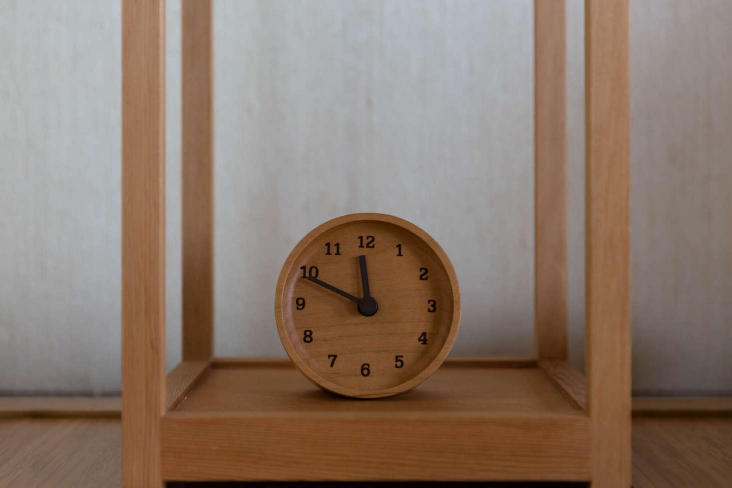 No detail overlooked: The Muku Wooden Desk Top Clock is from Japanese company Lemnos.