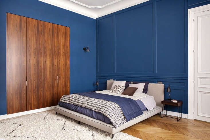 paris apartment blue bedroom wood closet 1