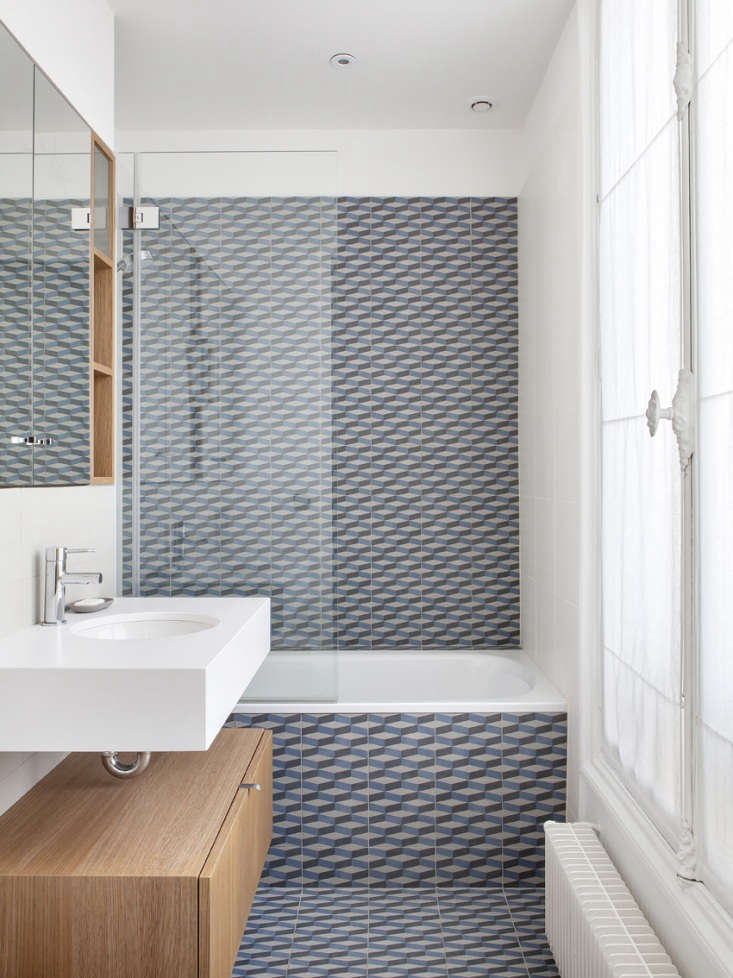 paris apartment blue graphic tile bathroom 1