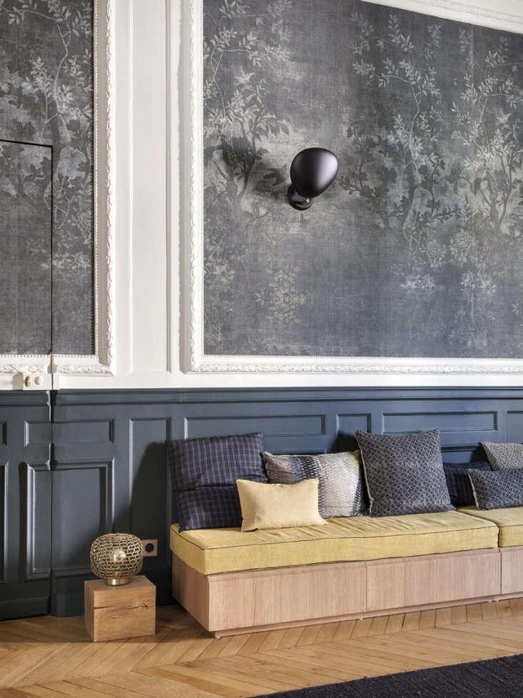 paris apartment entry hall built in sofa gray wallpaper 1