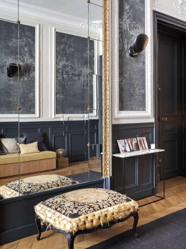 paris apartment entry hall built in sofa gray wallpaper 3