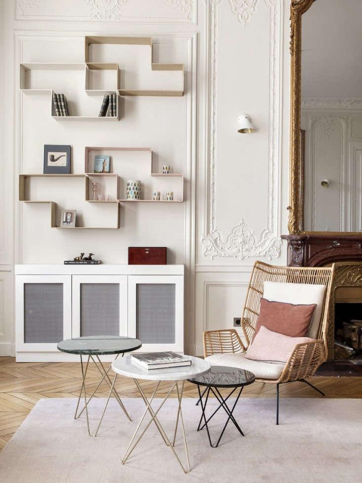 paris apartment informal living room side tables