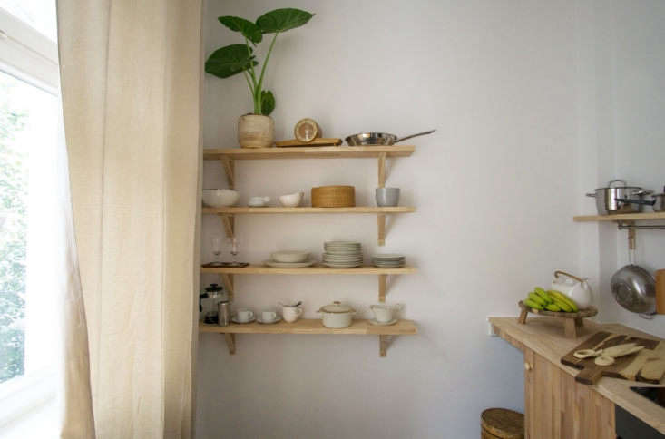 the simple wall shelves in the kitchen are ikeaekby valter brackets andekby 13