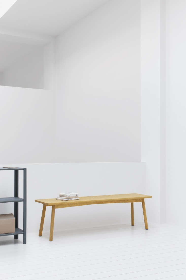 ParedBack Furniture from Stattmann Neue Moebel a FourthGeneration Company in Germany The Profile Bench comes in natural ash or oak, as well as \1\1 colors, including dark yellow (shown), which allows the wood grain to remain visible.