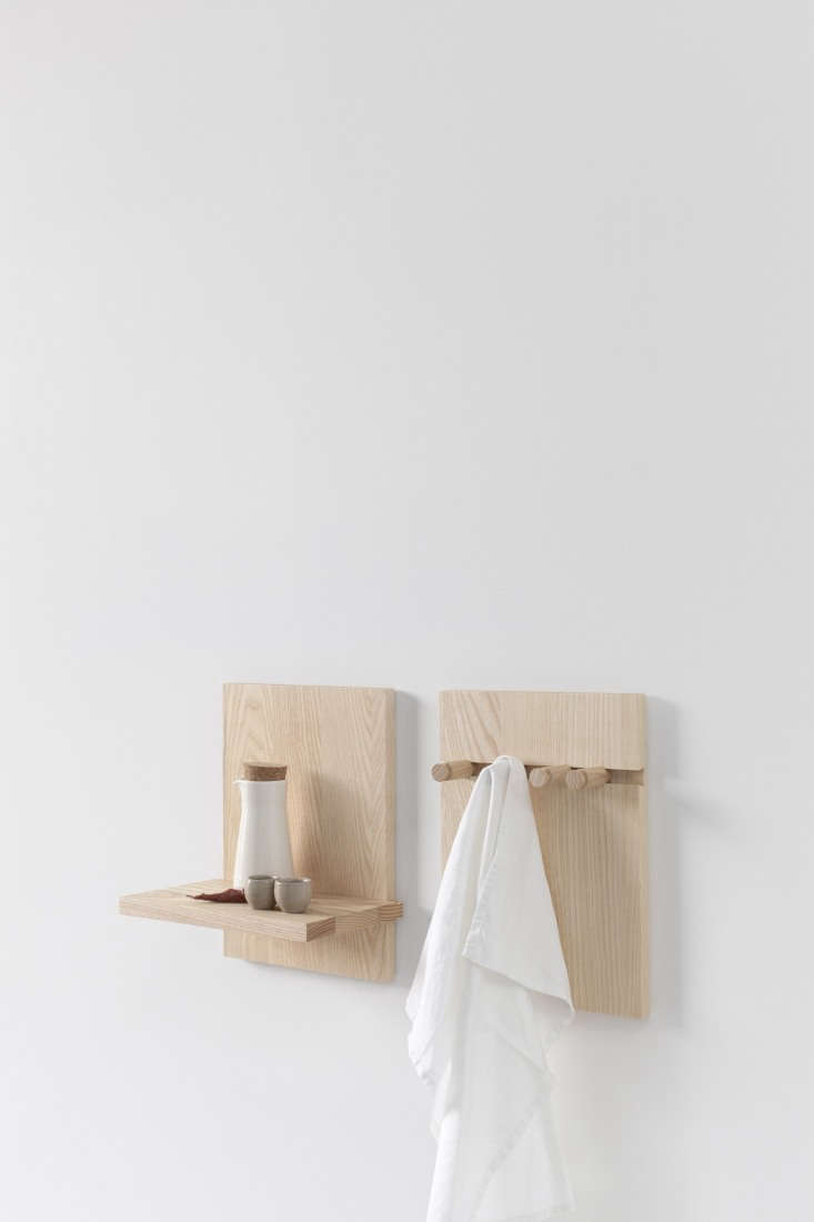 ParedBack Furniture from Stattmann Neue Moebel a FourthGeneration Company in Germany The Wall Shelf by Steffen Kehrle comes in a range of shelf and peg variations that start at €\1\27 each. Shown here in natural ash, they&#8\2\17;re shipped in a flatpack, and the shelves and pegs fit into &#8\2\20;precisely milled dovetailed grooves&#8\2\2\1; that don&#8\2\17;t require screwing or gluing.