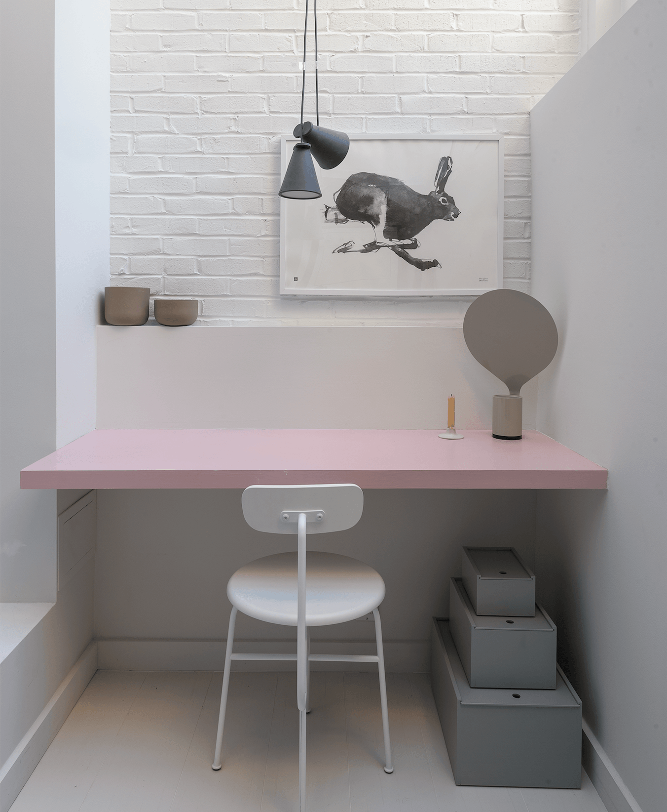 A built-in workspace table is painted in Farrow & Ball&#8