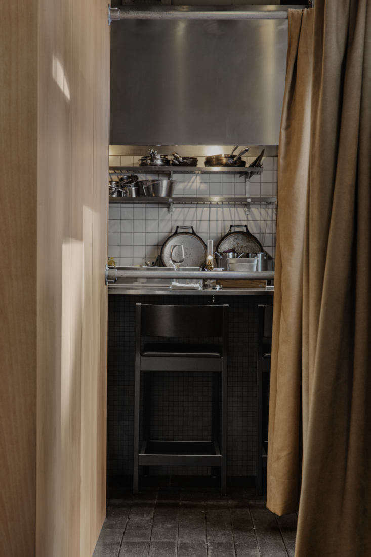 Behind a heavy taupe curtain, the chefs&#8