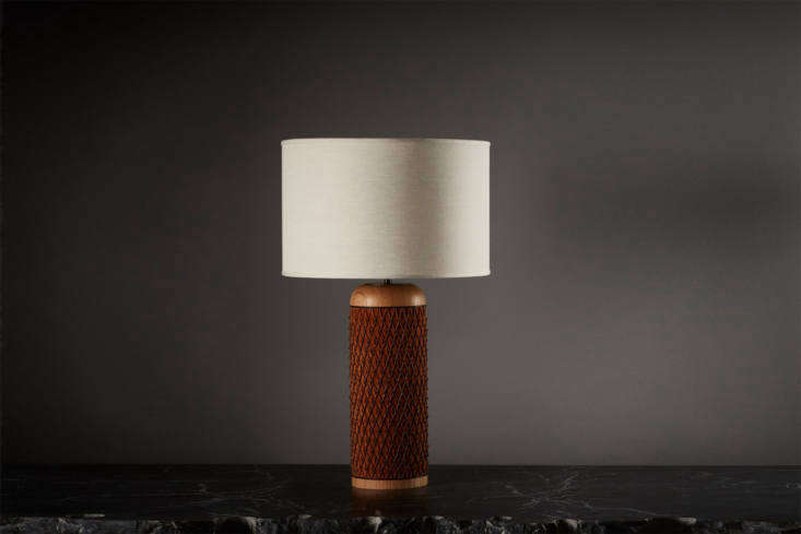 By mixed-media textile designer Aimee Betts, the Ricasso Barrel Table Lamp is made of hand-braided cow and kangaroo suede and waxed cotton cord. The shade is sold separately and the lamp base is handmade to order; $